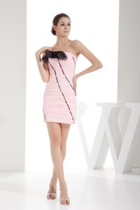 Baby Pink Strapless Mini-length Ruched Pageant Dress with Flower and Beading