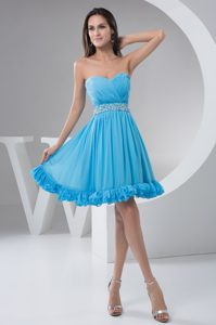 Sweetheart Mini-length Aqua Blue Ruched Chiffon Pageant Dresses with Beading