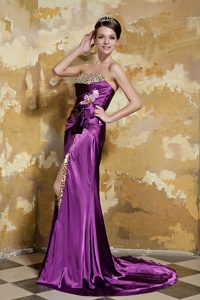 Strapless Brush Train Purple Beaded Pageant Dresses with Flowers and High Slit