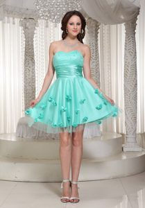 Attractive Turquoise Sweetheart Pageant Dresses with Handmade Flowers