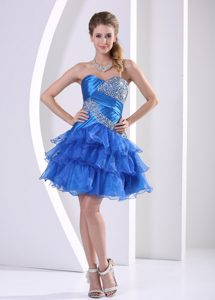 Peacock Blue Ruched Layered Sweetheart Pageant Dresses for Miss World