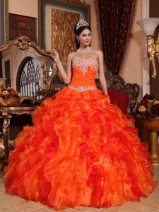 New Orange Sweetheart Organza Pageant Dress with Appliques and Beading