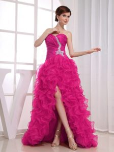 Ruched and Beaded Hot Pink High-low Pageant Dress Patterns with Ruffles