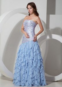Modern Beaded Lace-up Chiffon Long Interview Pageant Suits in Sky Blue