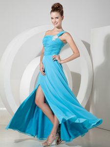 Exquisite Aqua Blue Chiffon Girl Pageant Dress with Appliques and Ruche