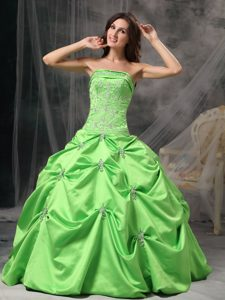 Spring Green Ball Gown Strapless Pageant Dress in Taffeta with Beading