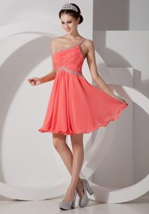 Lovely Orange Red Chiffon Prom Pageant Dress with Beading and Ruche