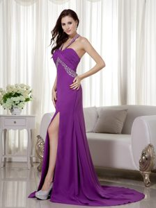 Purple Halter Top Chiffon Beauty Pageant Dresses with Beading and Ruche