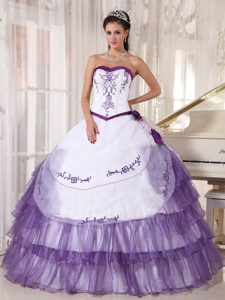 White and Purple Embroidery Interview Pageant Suits in Satin and Organza