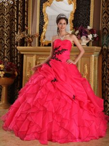 Red Sweetheart Organza Pageant Dress for Miss America with Appliques