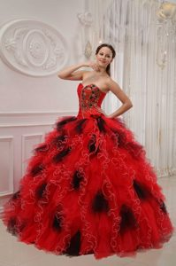 Red and Black Organza Pageant Dresses for Girl with Beading and Ruche