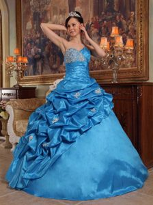 Blue Ball Gown Sweetheart Glitz Pageant Dresses with Beading in Taffeta