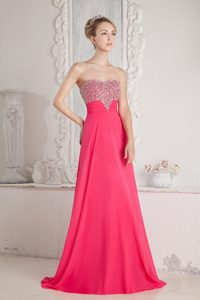 New Coral Red Sweetheart Beaded Chiffon Pageant Dress to Floor-length