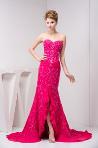 Beaded and Flounced Chiffon Miss Universe Pageant Dresses in Hot Pink