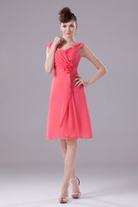 Watermelon Red Flirty Girl Pageant Dress with Wide Straps to Knee-length