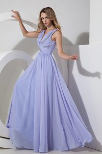 Romantic Lilac Empire V-neck Prom Pageant Dresses in Chiffon with Beads