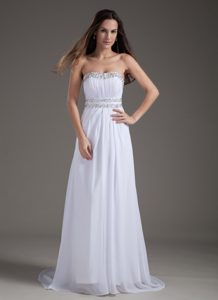 Gorgeous Strapless Brush Train Chiffon Beading Pageant Dresses in White