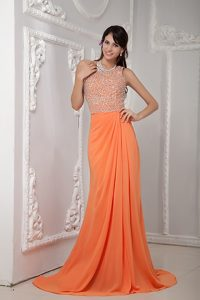 Necessary One Shoulder Brush Train Chiffon Pageants Dresses in Orange