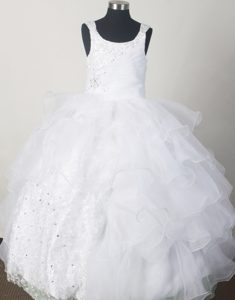 Unique White Natural Beauty Pageants Dress with Beading and Ruffled Layers