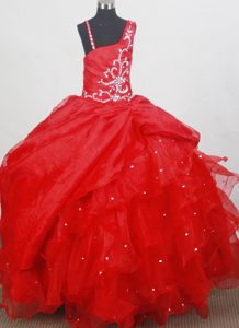 Luxurious Beading Little Girl Pageant Suits with Straps to Floor-length in Red