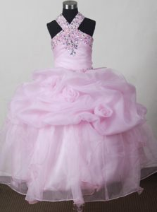 Gorgeous Baby Pink Little Prom Pageant Dresses with Beading and Pick-ups