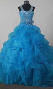 Fashionable Scoop Pageant Dresses with Beading and Pick-ups in Baby Blue