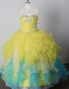 Beading Ball Gown Colorful Lace-up Little Girl Pageant Dresses in Organza
