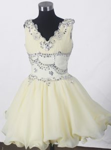 Perfect Beading A-line V-neck Natural Beauty Pageants Dress to Mini-length