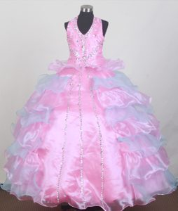 Fave Halter Top Ball Gown Pageant Girl Dresses to Floor Length in Organza