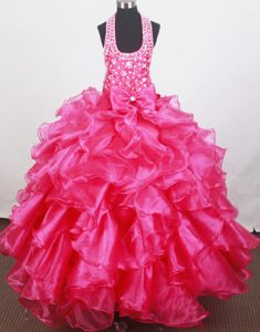 Iconic Halter Bowknot Little Girl Prom Pageant Dresses with Ruffled Layers