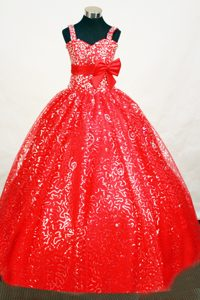 Necessary Sequin Red Lace-up Little Girl Pageant Dress with Bowknot Sash