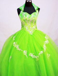 Latest Beading Tulle Little Girl Pageant Dress with Halter Top in Spring Green
