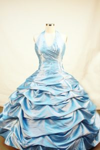Wanted Blue Pageant Dresses for Girls with Pick-ups and Beading in Taffeta