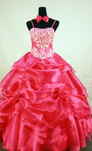 Hot Beading Glitz Little Girl Pageant Dresses with Hand Made Flowers in Red
