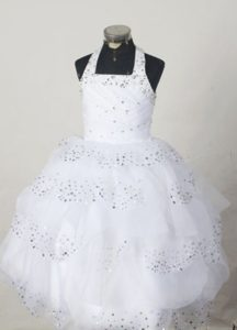 Dashing Ball Gown Halter Beading Youth Pageant Dresses to Floor in White