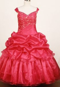 Well-packaged Red Off The Shoulder Dresses for Little Girls to Floor-Length