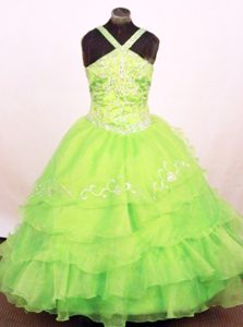 Righteous Natural Beauty Pageants Dress with Ruffled Layers in Spring Green