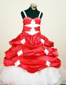 Delish Red and White Spaghetti Straps Little Girl Pageant Suits with Pick-ups