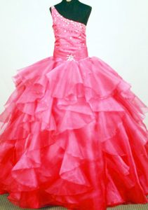 Tasty Beaded One Shoulder Little Girl Pageant Dresses with Ruffled Layers