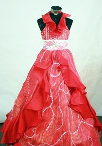 Urbane Halter Top Organza Pageant Dresses for Girls with Beading in Red