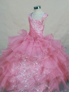 Luxury and Grace Scoop Pink Organza Appliqued Little Girl Pageant Dress