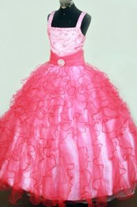 Sophisticated Organza Natural Beauty Pageant Dress with Ruffles and Beads