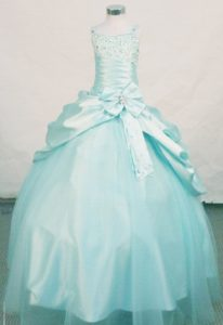 Multi-tiered Ball Gown Beading Straps Little Girl Pageant Suits in Light Blue
