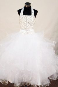 Vintage-inspired Beading Halter Top White Pageant Girl Dresses in Organza