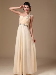 Champagne One Shoulder Empire Beaded Pageant Dress for Custom Made
