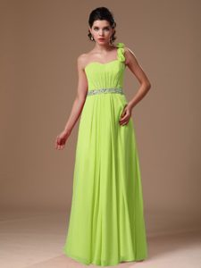 One Shoulder Beaded Chiffon Pageant Dress with Hand Made Flowers on Sale