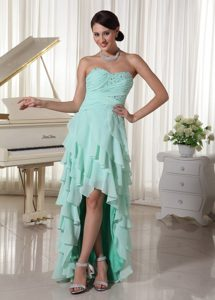 Attractive High-Low Apple Green Chiffon Prom Pageant Dress with Beading