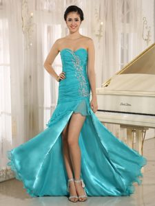 Aqua Blue High Slit Organza Romantic Miss USA Pageant Dress with Ruches