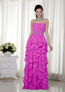 Strapless Chiffon Hot Pink Discount Long Pageant Dress for Girls under 200