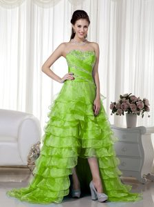 Sweet Spring Green A-line High-low Organza Glitz Pageant Dresses for Fall